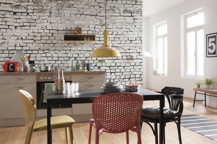 Кухня - Обои под кирпичную кладку в интерьере