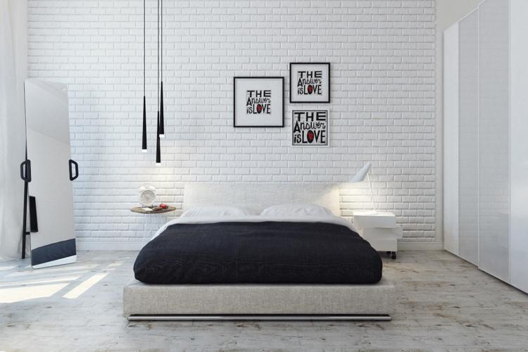 Спальня - Обои под кирпичную кладку в интерьере