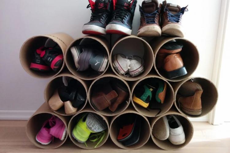 Обувница в прихожую из картона своими руками