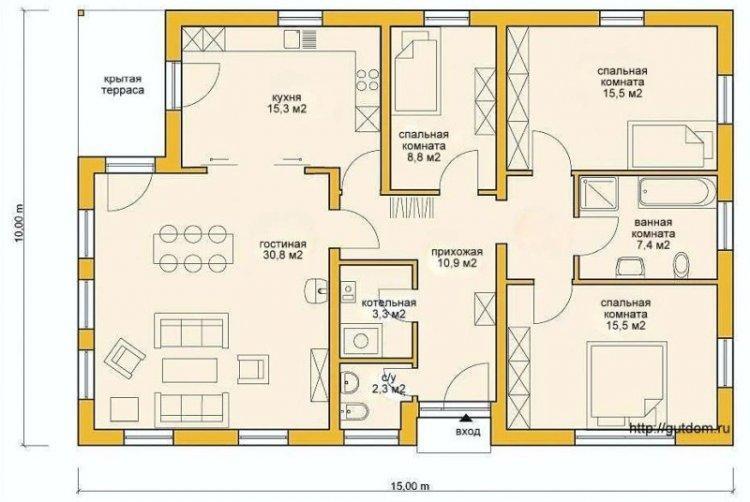 Варианты планировки одноэтажного дома
