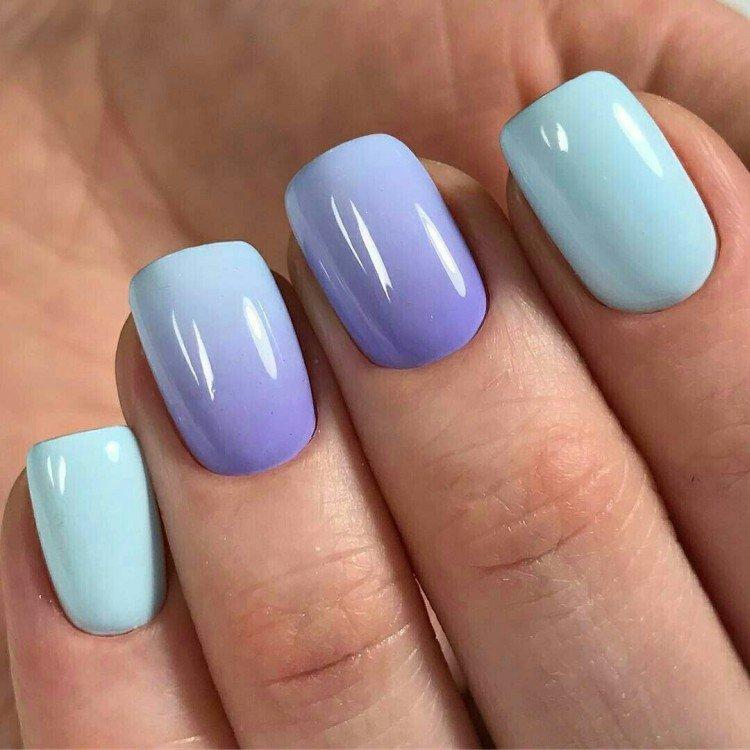 Омбре на коротких ногтях - фото