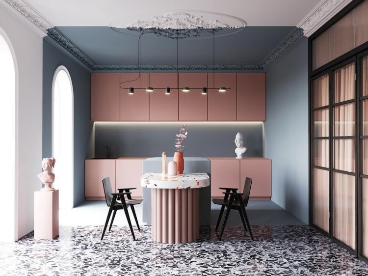 Pink&Blue: Дизайн-проект кухни-гостиной