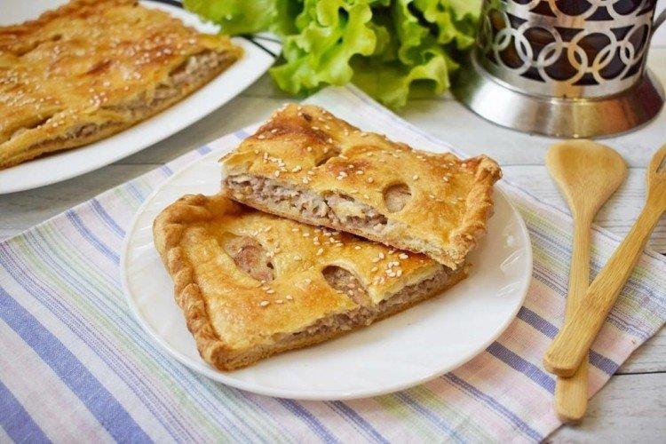 Пирог из слоеного теста с мясом - рецепты