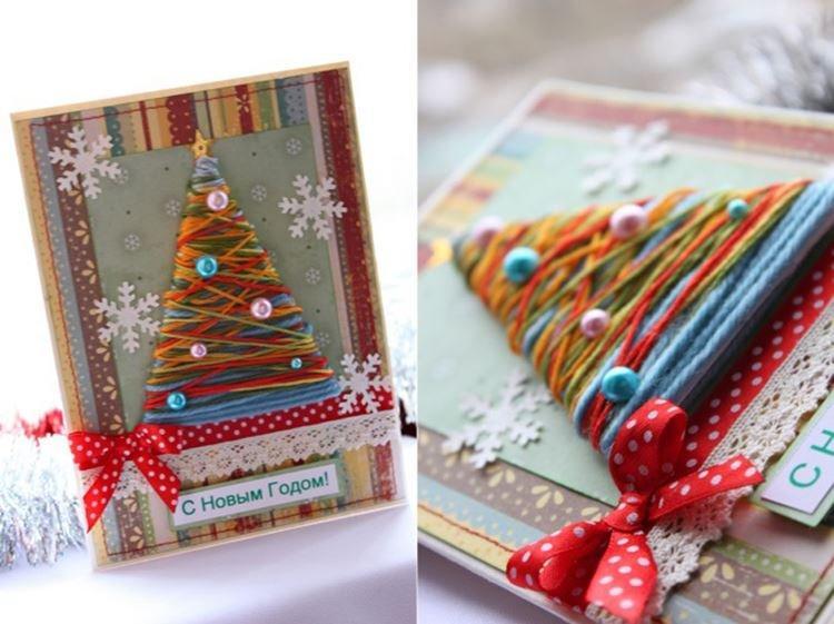 Разноцветная елочка из ниток - Подарок маме на Новый год своими руками