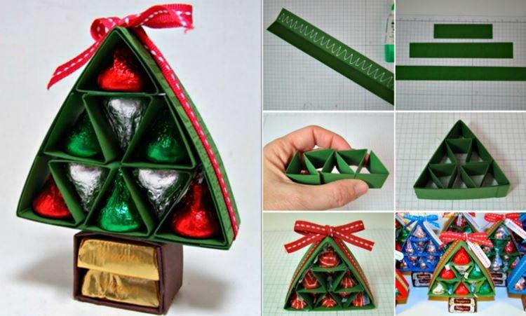 Конфетная елочка - Подарок маме на Новый год своими руками