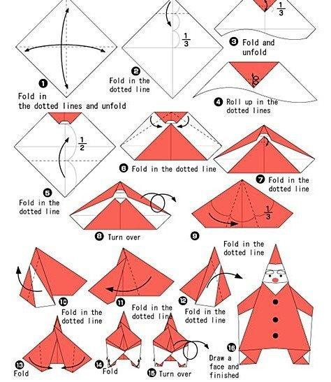 Оригами Дед Мороз - Поделки из бумаги на Новый год своими руками