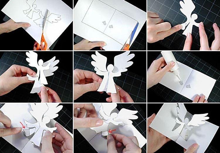 Открытка с ангелочком - Поделки из бумаги на Новый год 2021 своими руками