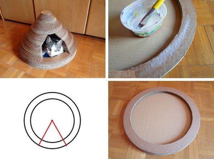 Домик-когтеточка для кота - Поделки из картона своими руками
