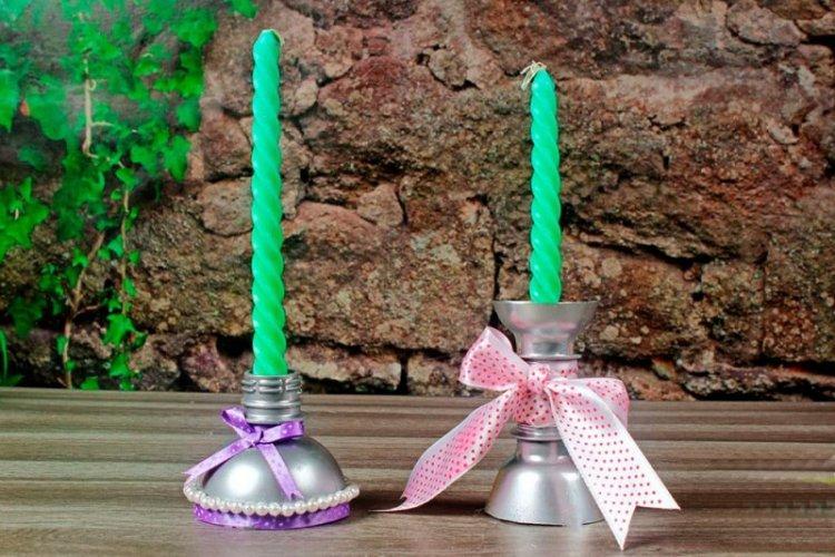 Подсвечники - Поделки из пластиковых бутылок своими руками