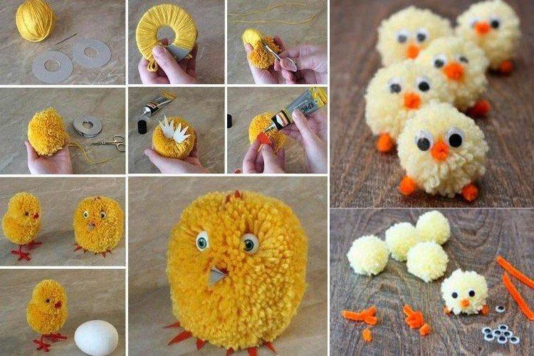 Забавные цыплята из помпонов - Поделки к Пасхе своими руками