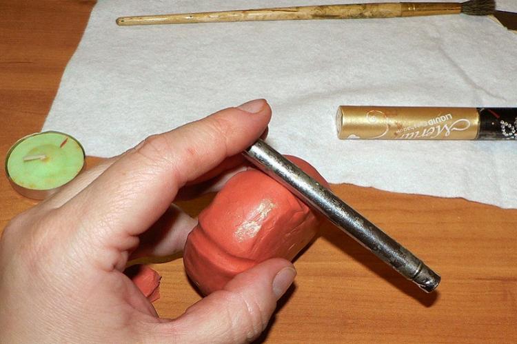 Подсвечник-тыква - Подсвечники из полимерной глины своими руками