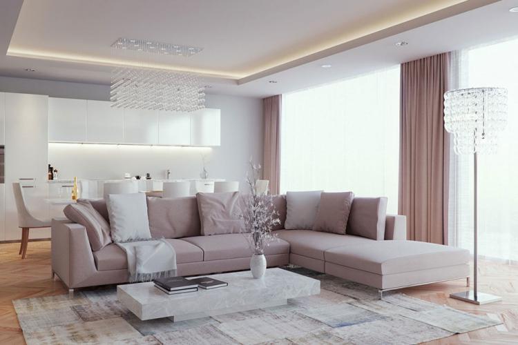 Подвесной потолок в гостиной - фото