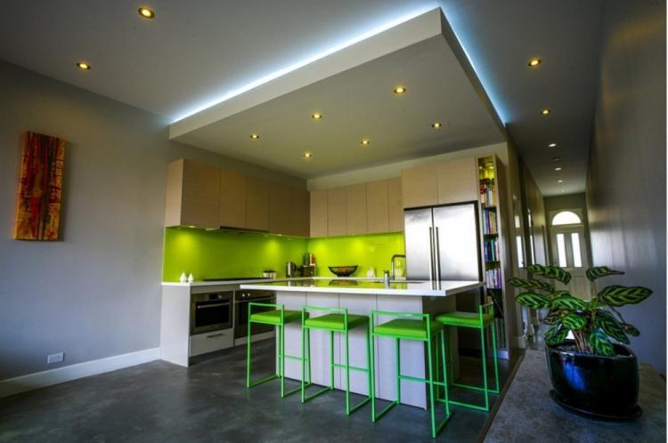 Скрытая подсветка - Подсветка потолка из гипсокартона на кухне