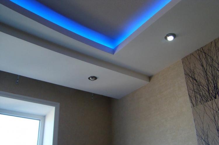 Декоративная подсветка - Подсветка потолка из гипсокартона на кухне
