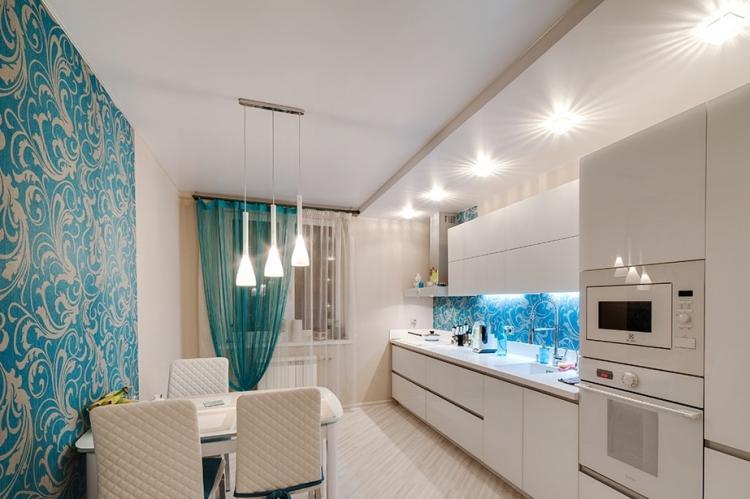 Потолок из гипсокартона на кухне - идеи дизайна фото