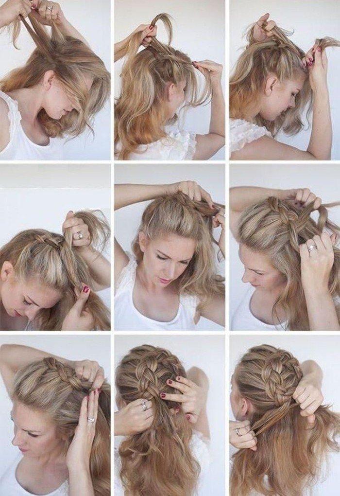 Коса по кругу - Прически на Новый год 2021 на средние волосы