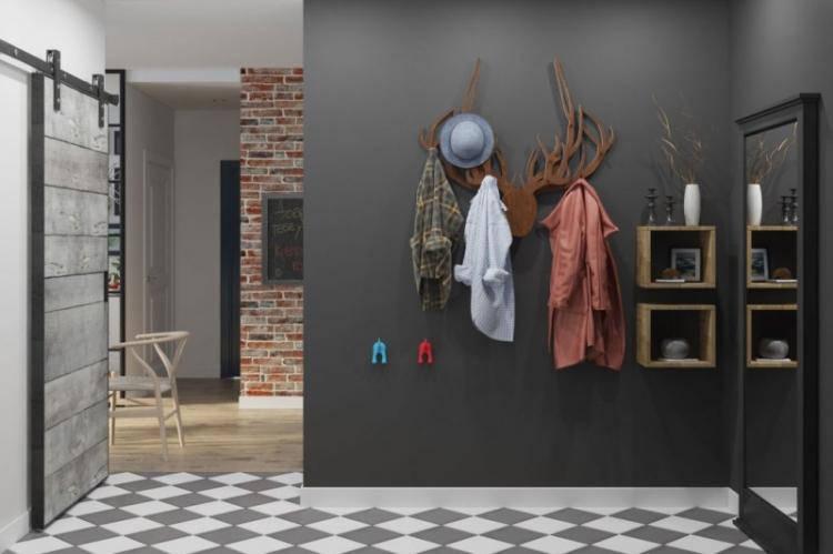 Черная прихожая в современном стиле - Дизайн интерьера