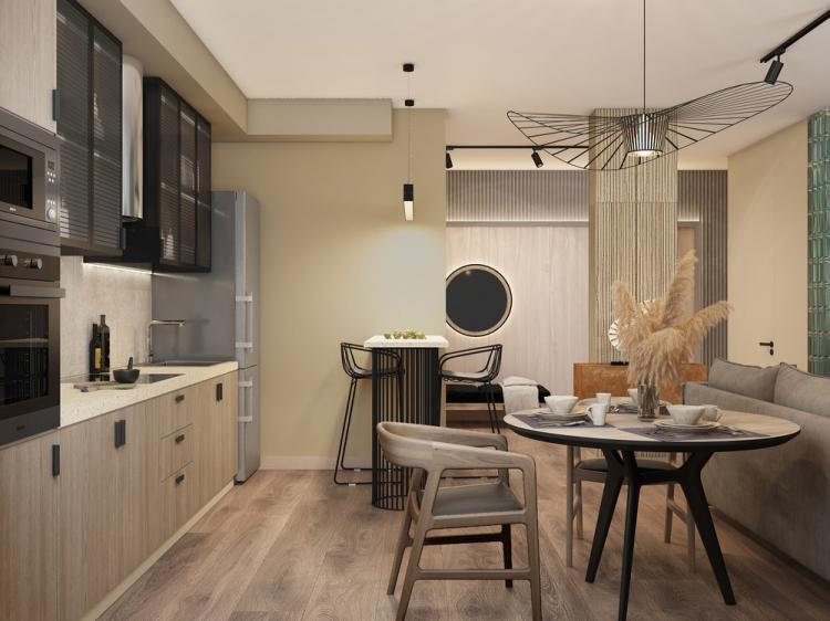 Дизайн-проект кухни-гостиной «Дожди на пляже»