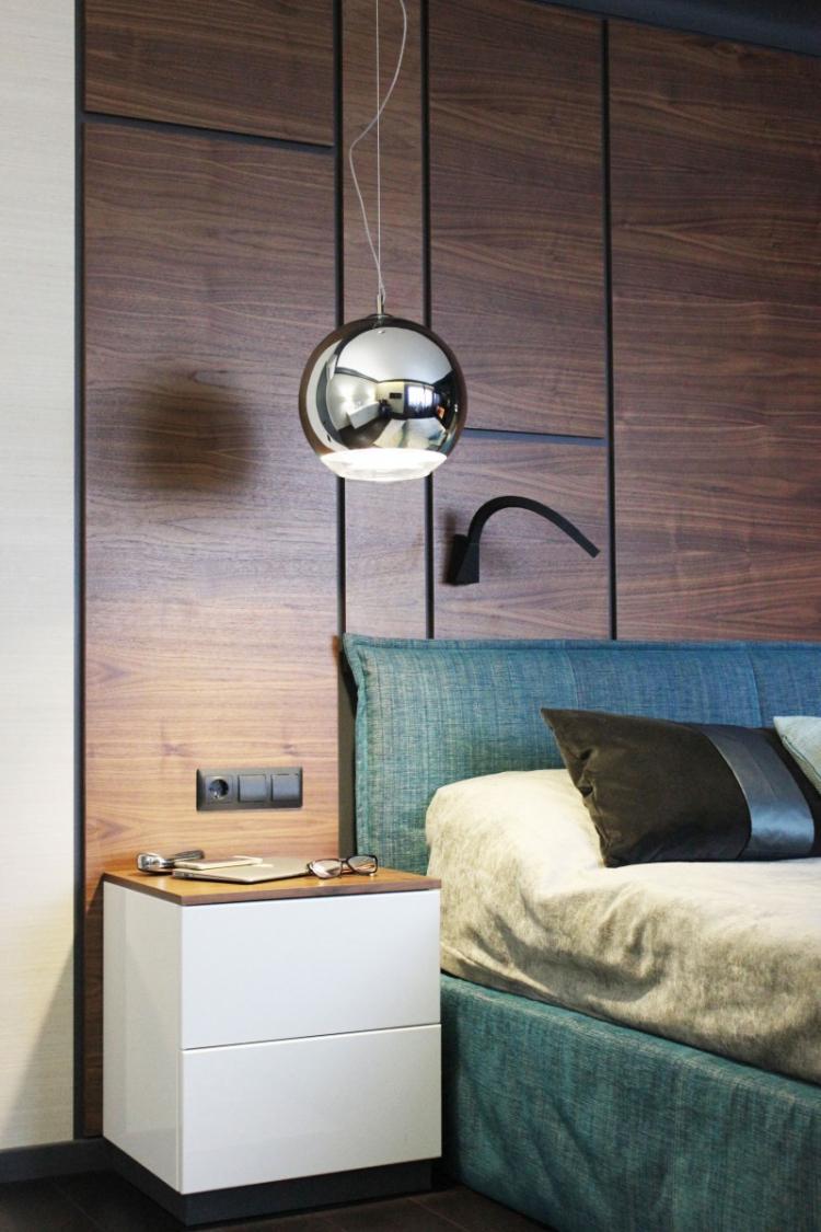 Проект спальни «Черный, дерево и бирюза» - дизайн интерьера
