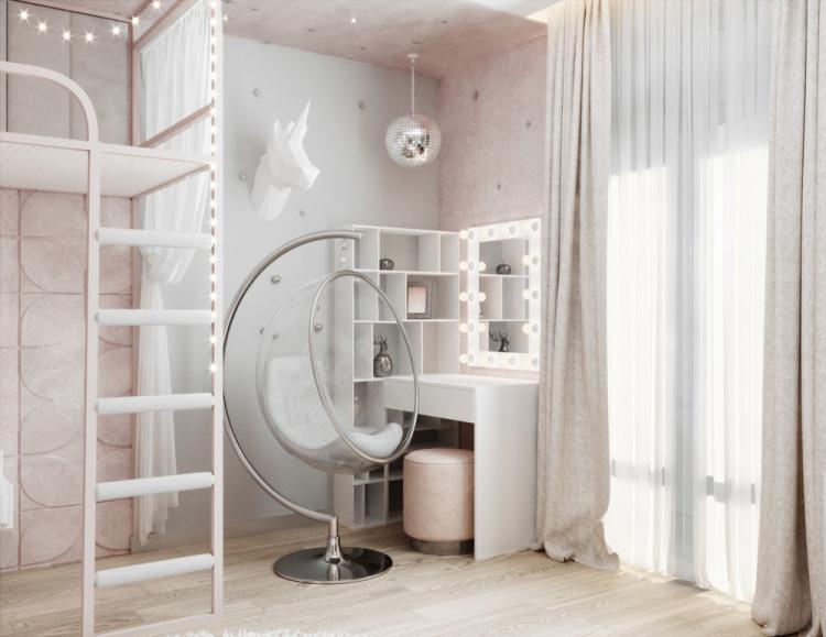 «Пудровые облака»: Детская комната для девочки - дизайн интерьера