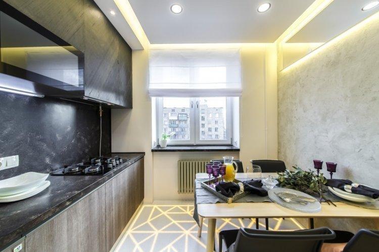Римские шторы на кухне - дизайн интерьера фото
