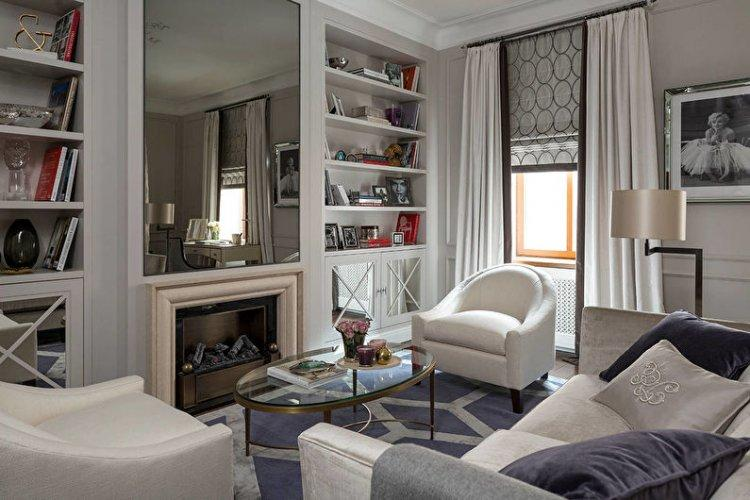 Римские шторы в гостиной (зале) - дизайн интерьера фото