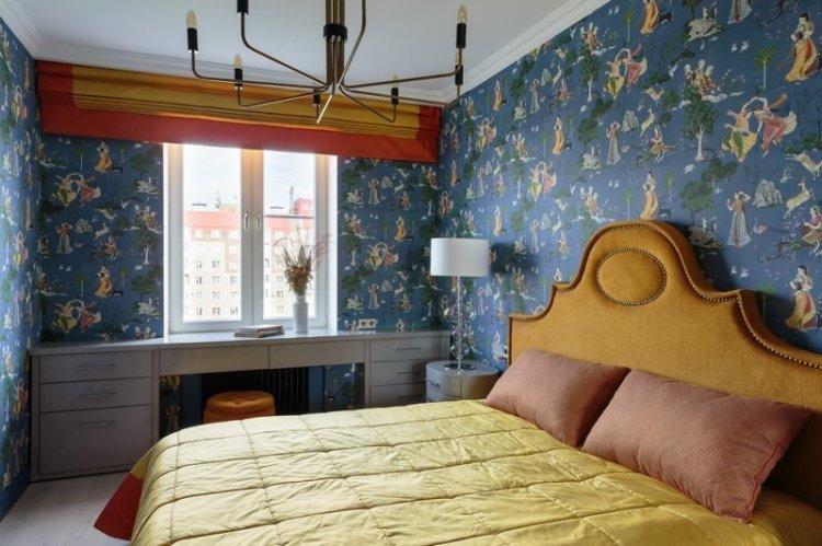 Римские шторы в спальне - дизайн интерьера фото