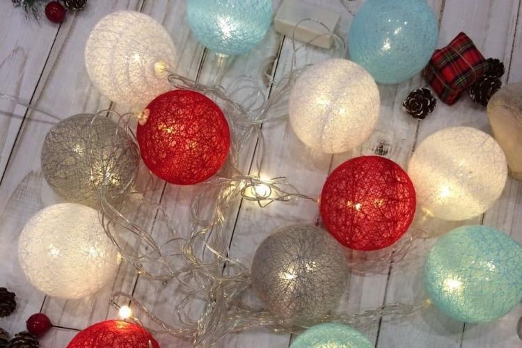 Гирлянда с шарами из ниток - Рукоделие для дома