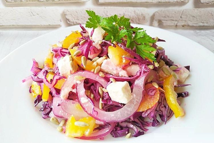 Салат из свежей капусты и феты - рецепты