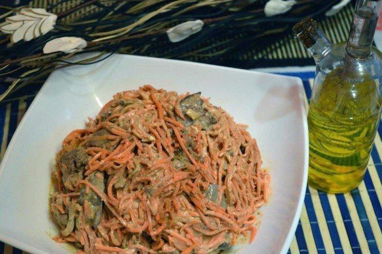 Салат с корейской морковью и печенью - рецепты