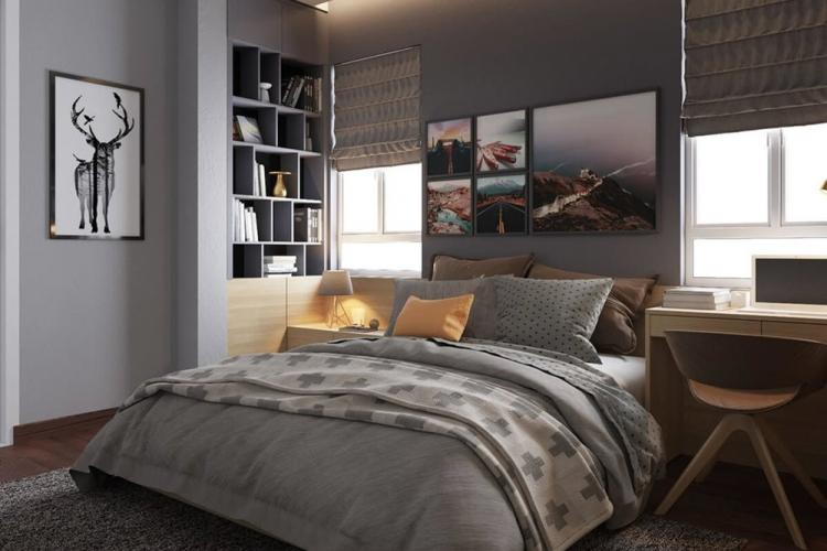 Серый цвет в интерьере спальни