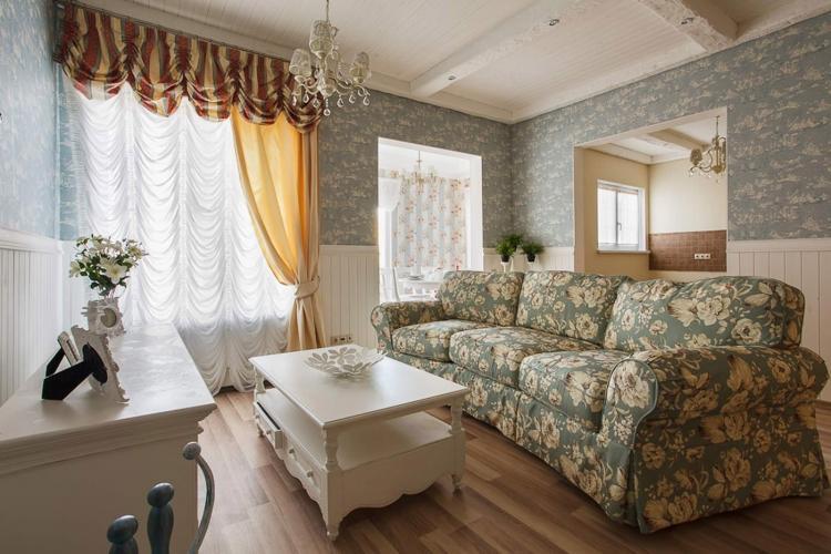 Деревенская романтика - Шторы для гостиной в разных стилях интерьеров