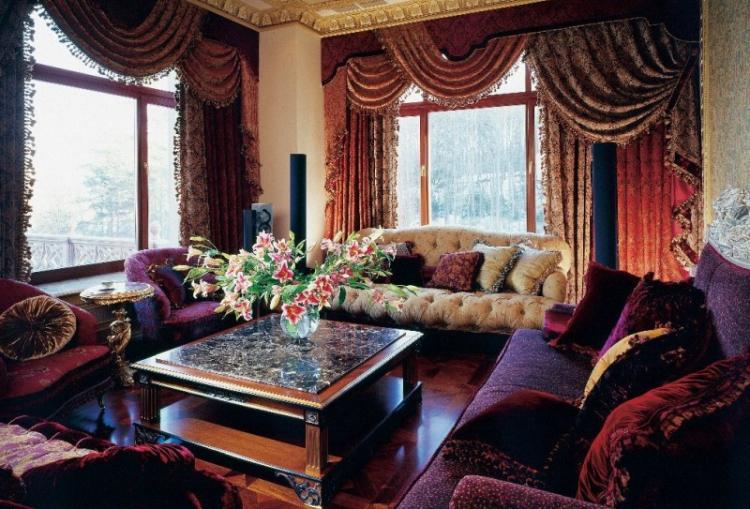 Дворцовая роскошь - Шторы для гостиной в разных стилях интерьеров