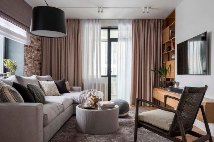 Шторы в гостиную в современном стиле (65 фото)