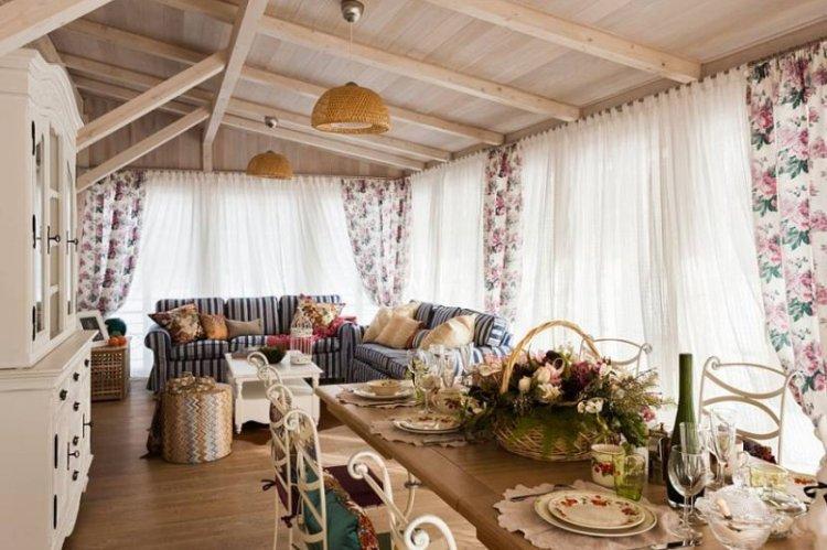 Комбинирование штор с мебелью - Шторы в стиле прованс