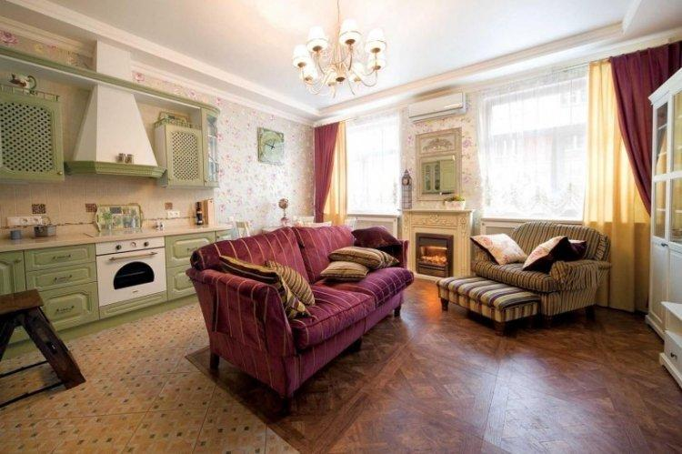 Шторы в стиле прованс в гостиной, зале - дизайн фото