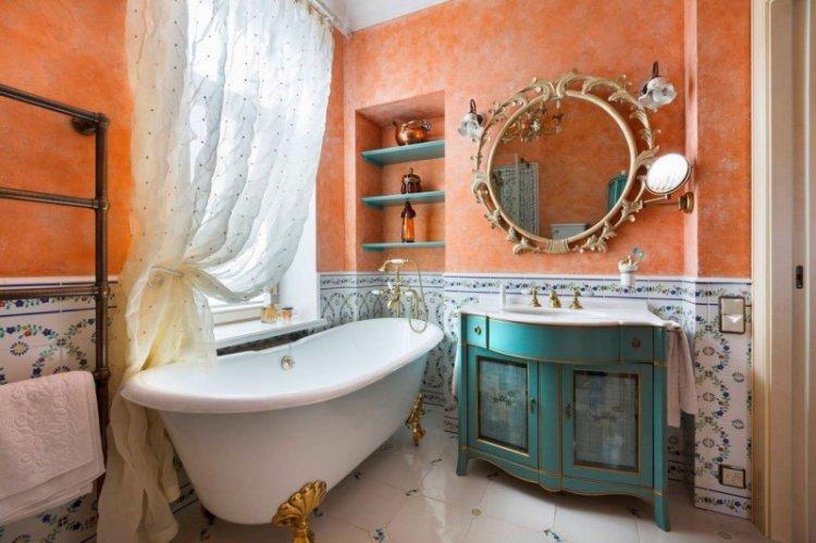 Шторы в стиле прованс в ванной комнате - дизайн фото