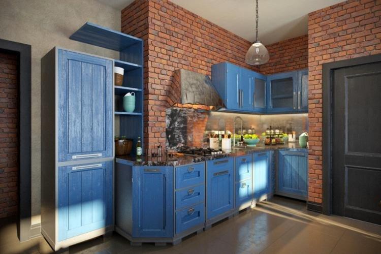 Лофт - Синий цвет в интерьере