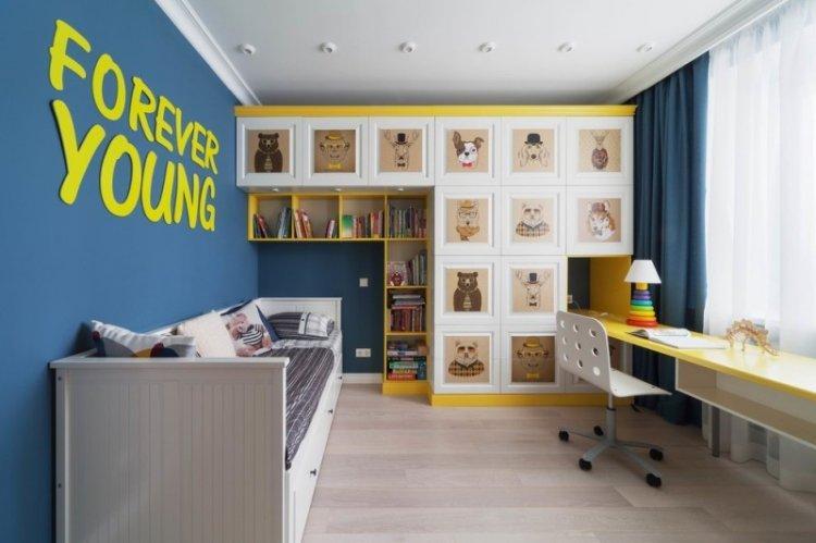 Синий цвет в интерьере детской комнаты - фото