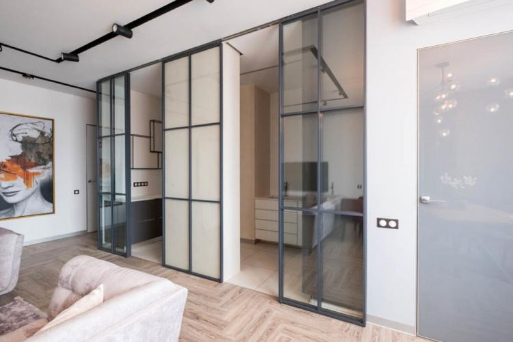 Раздвижные перегородки - Виды стеклянных перегородок в квартире