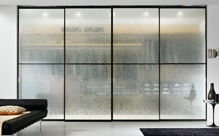 Непрозрачные конструкции - Стеклянные перегородки в квартире