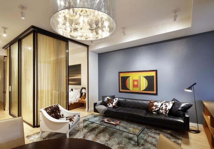 Стеклянные перегородки в гостиной - Дизайн интерьера