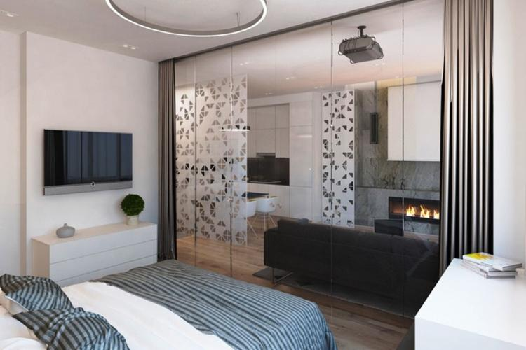 Стеклянные перегородки в спальне - Дизайн интерьера