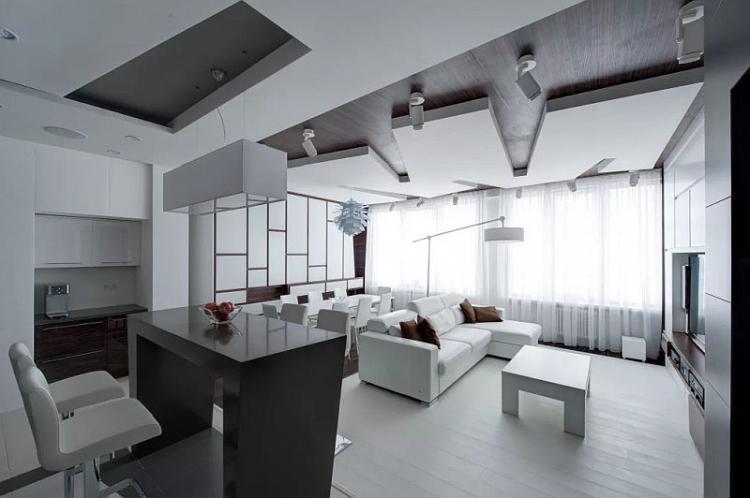 Гостиная в стиле хай-тек - Дизайн интерьера фото