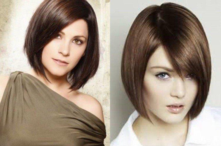 Каре с косой челкой - Стрижки на средние волосы придающие объем