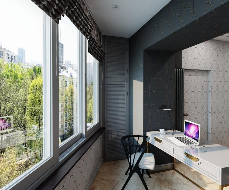 «Свет и комфорт»: Спальня с рабочим местом - дизайн интерьера