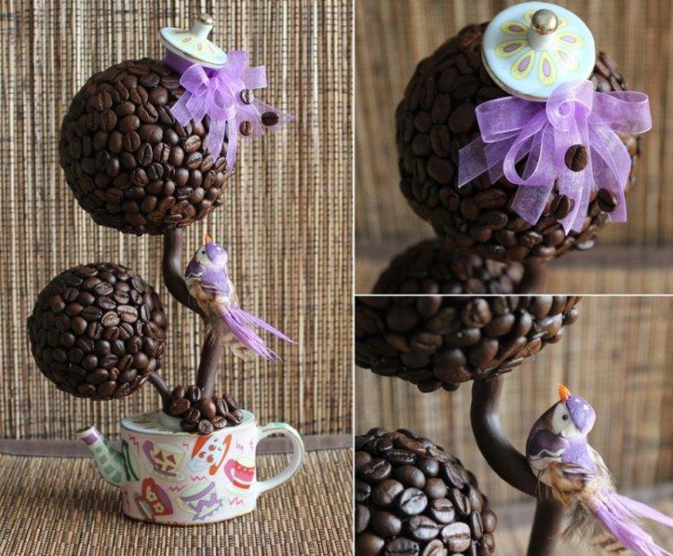 Топиарий из кофейных зерен своими руками (кофейное дерево)