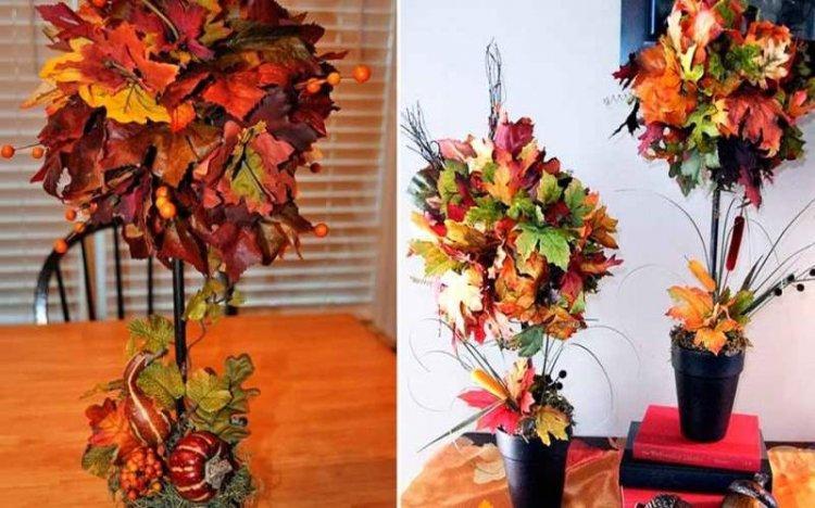 Топиарий из осенних листьев и сухоцветов своими руками