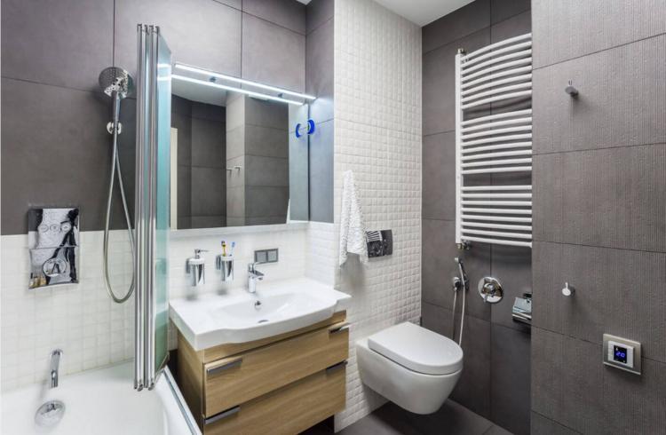 Серая ванная комната в хрущевке - Дизайн интерьера
