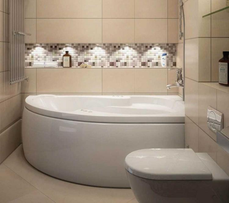 Бежевая ванная комната в хрущевке - Дизайн интерьера